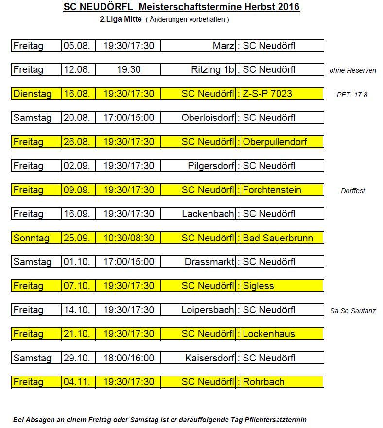 Spielplan Herbst 2016